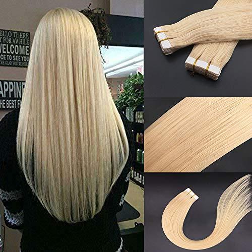 Tape in Hair Extensions Bleach Blonde Hair Color #613 100% Real Human Hair Komorebi Hair 22inch 20pcs/50g