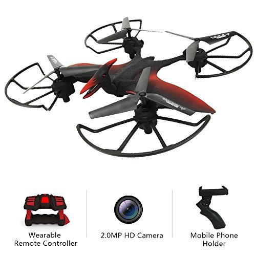 Drone with HD Camera Live Video 2.0MP 720P Easy to Control with Wearable G-Sensor Remote Control Emulational Pterosaur Quadcopter 2 Batteries 6Axis Cruise Flight Altitude Hold WiFi FPV Helicopter Toy