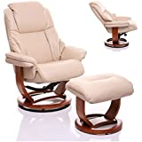 The Emperor - Bonded Leather Recliner Swivel Chair & Matching Footstool in Cream