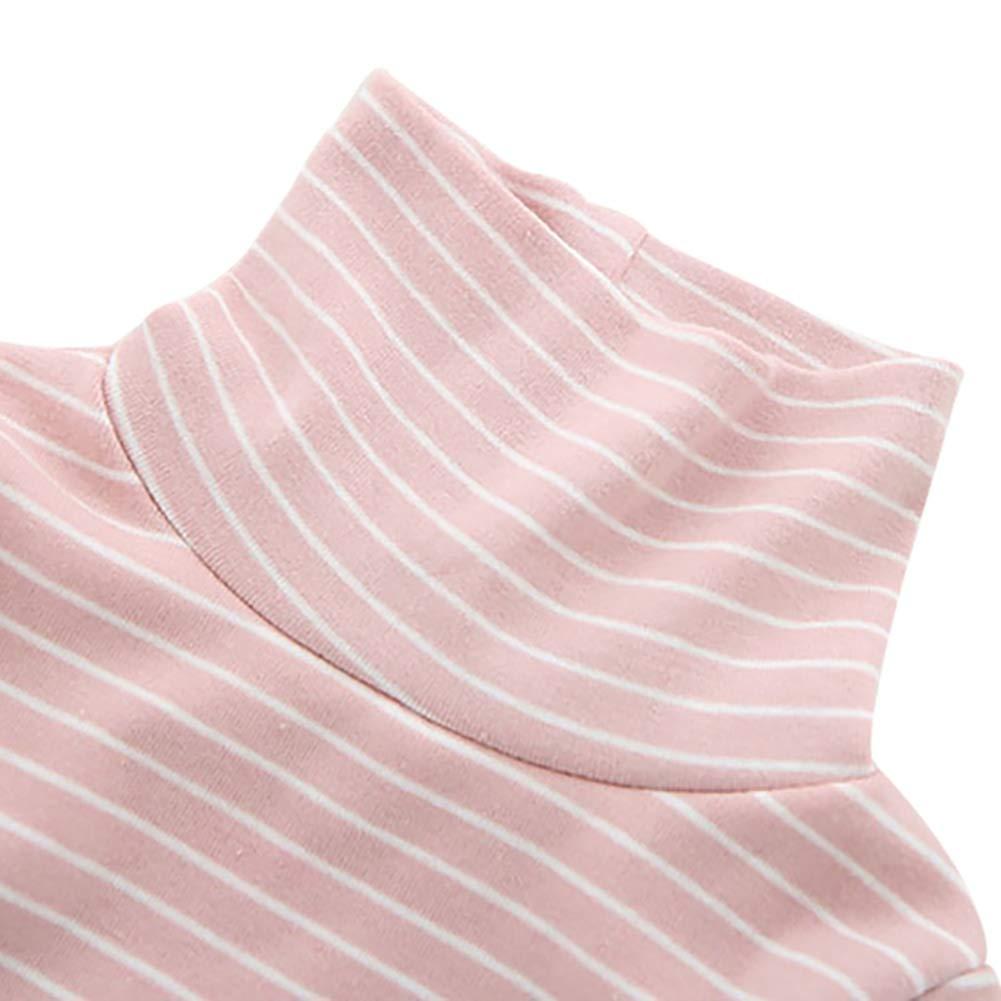 ELINKMALL Baby Girl Striped Turtleneck Long Sleeve Shirt Top Sweatshirt