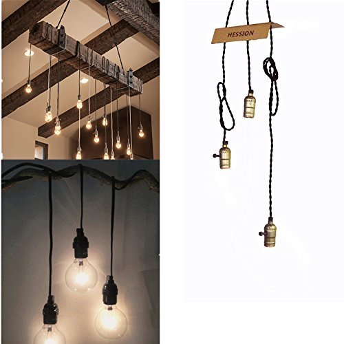 hession vintage triple light sockets pendant hanging light cord plug in light fixture with on. Black Bedroom Furniture Sets. Home Design Ideas