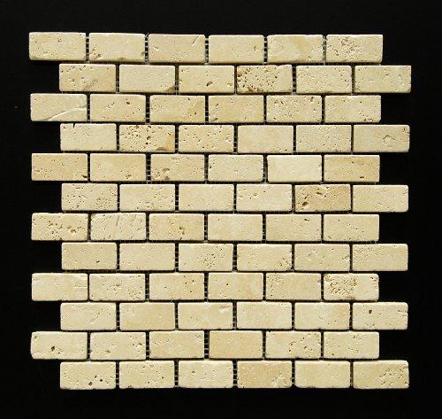Light 1 x 2 Tumbled Travertine Brick Mosaic Tile