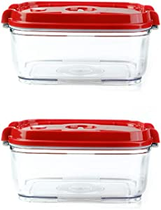 Pomodoro Food Storage Vacuum Seal Containers Set - Preserve Food Longer, Stackable, Airtight, Great for Marinating Meat & Food (2-Piece (57oz))