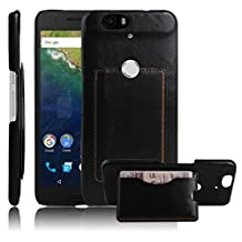 Nexus 6P Case, Premium Leather Wallet Case Cover with Stand Card Holder for Huawei Google Nexus 6P / 6 2nd Gen 2015 Phone (Bracket - Black)