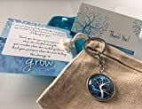 Smiling Wisdom - Teacher Appreciation Gift Set - Includes 2 Cards (Daughter AND Son's Teacher) For Giving Him/Her the Courage to Grow - For Man or Woman Teacher - Blue Tree Key Chain in Cotton Bag