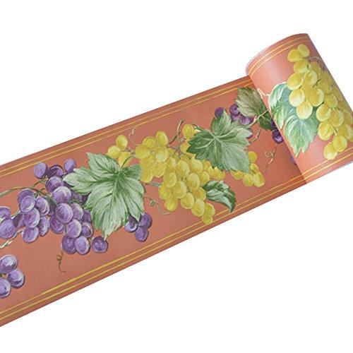 Grape Border Flat - SimpleLife4U Purple-Green Grape Removable Wallpaper Border Self Adhesive Stciker Kitchen Bedroom Wall Decor