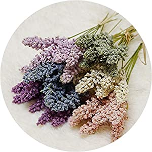 Get-in 6Pcs/Pack Artificial Vanilla Mini Foam Berry Spike Artificial Flowers Bouquet for Home Plant Wall Decoration Cereals Plant Heap 59