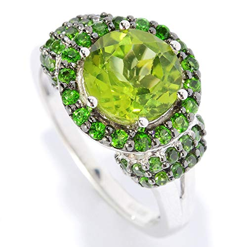 Sterling Silver 2.82ct Peridot and Chrome Diopside Halo Ring