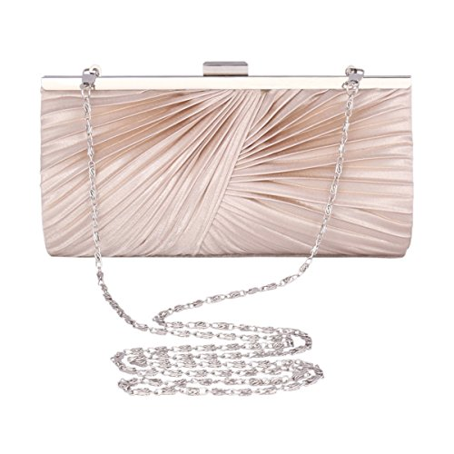 Adoptfade Frame Grey Metal Bag Satin Bag Evening Clasp Cocktail Pleated Clutch Ladies Fashion SYWrgqYTp
