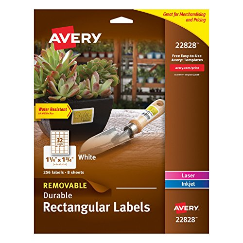 Avery Removable Durable Rectangular Labels, White, 1.25 x 1.75 Inches, Pack of 256 (Removable Rectangle Labels)