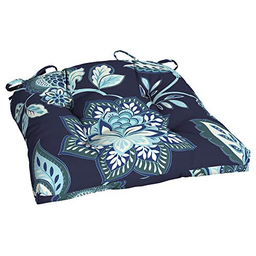 Better Homes and Gardens Jacobean Floral Outdoor Wicker Seat Cushion, Blue (Arden Cushions Outdoor)