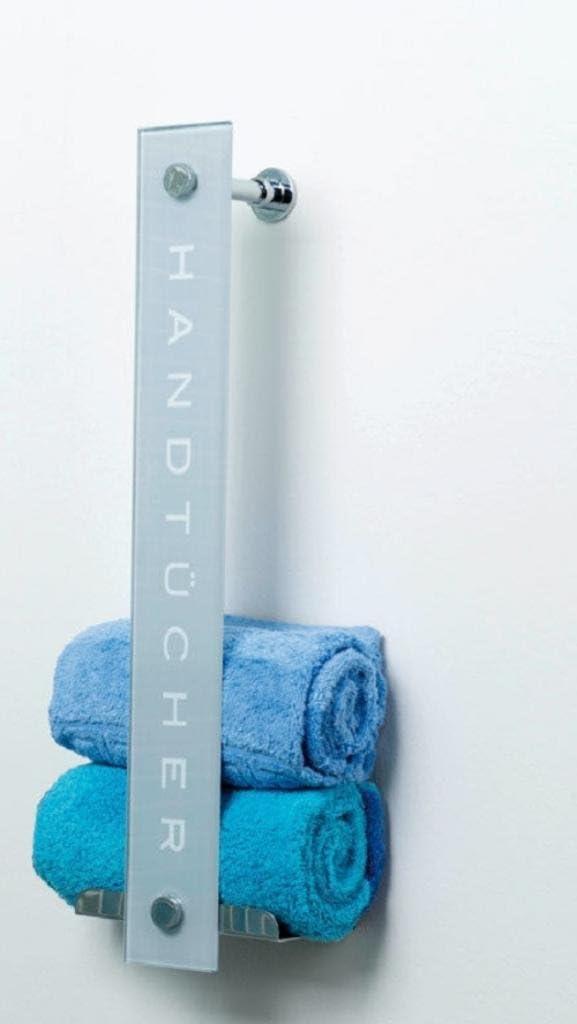 DUSAR Design Handtuchhalter aus Glas mit Edelstahlablage Einhängung oder Wandmontage 60x18x8 cm