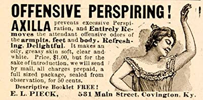 1898 Ad Axilla Anti-Perspirant Body Odor 531 Main Street Covington Kentucky Body - Original Print Ad