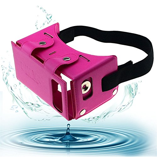 "Sminiker Waterproof Google Cardboard Kit,PU leather DIY 3D Glasses,3D Vr Virtual Reality Glasses,Google Box for iPhone Samsung and Other 4.0-5.5"" Smartphones(Pink)"