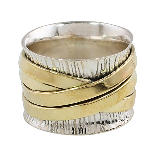 NOVICA .925 Sterling Silver Brass Band Ring 'Crisscrossing Grace'