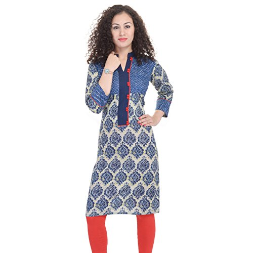 Chichi Women's Casual Solid Cotton Kurti Medium Multi-Coloured,Medium,Dark-blue from CHI