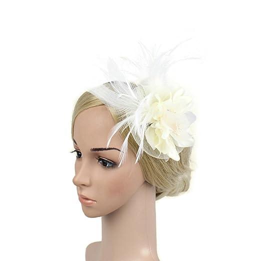 87be3de0872 SZTARA Netting Feathers Big Flower Headband Party Girls Women Fascinator  Headwear Cocktail Hat Head Decoration Beige