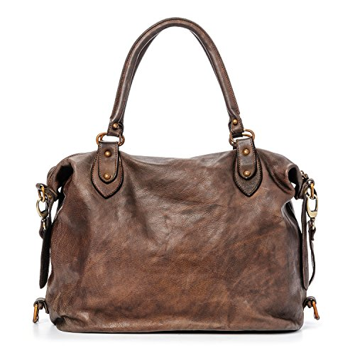Ira del Valle, Bolso para mujer, Piel genuina, Vintage, Modelo Large Miami streets, Made in Italy Marrón Oscuro
