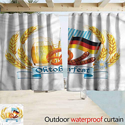 MaryMunger Rod Pocket Blackout Curtain Panels Oktoberfest Delicious German Food Rod Pocket Curtain Panels W55x72L Inches ()