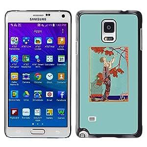 Paccase / SLIM PC / Aliminium Casa Carcasa Funda Case Cover para - Man Tree Autumn Fall Brown Teal - Samsung Galaxy Note 4 SM-N910F SM-N910K SM-N910C SM-N910W8 SM-N910U SM-N910