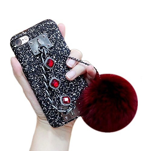 DStores for iPhone 6 Plus Fur Case, Luxury Fashion Bling Glitter Diamond Rhinestone Back Case Cover with Rabbit Fur Pom Gemstone Hand Metal Chain Holder Designed for iPhone 6Plus/6SPlus 5.5inch (Red