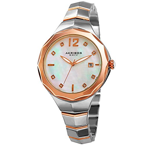 Akribos XXIV Women's Swarovski Crystal Rose-Tone Accented Mother-of-Pearl Dial with Two-Tone Bracelet Watch AK932TTR