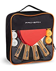 PRO SPIN Ping Pong Paddles - High-Performance 4-Player Set | Premium Table Tennis Paddles, 3-Star Ping Pong Balls, Compact Storage Case | Ping Pong Paddles Set of 4 for Indoor & Outdoor Games