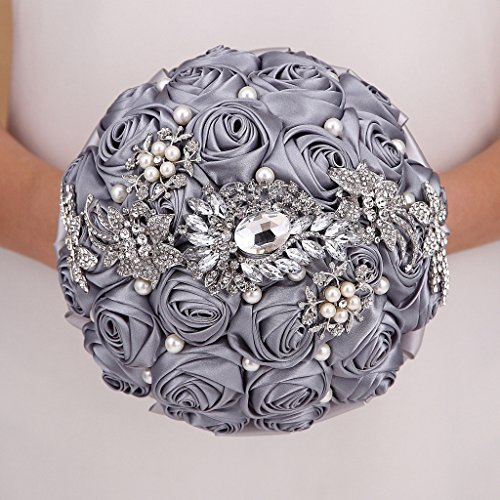 Hand Made Silk Rose Rhinestone Brooch Wedding Bouquets Customization Pearls Bride Holding (Rose Rhinestone Brooch)