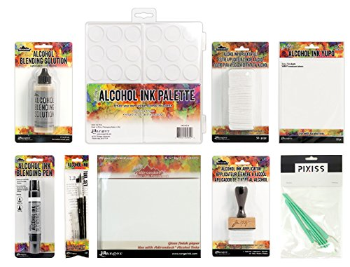 Tim Holtz Alcohol Ink Accessory 9 Piece Bundle, Blending Solution, Applicator, Applicator Felt, Ink Palette, Card Stock, Translucent Yupo Paper, Ink Tool Set, Pixiss Blending Tool Set ()