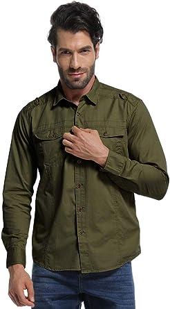 Camisa táctica militar de manga larga para hombre, camisa cargo ideal para trabajo - Verde - Large