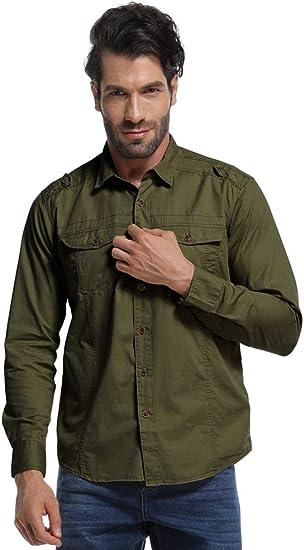Camisa táctica militar de manga larga para hombre, camisa cargo ideal para trabajo - Verde - X-Large