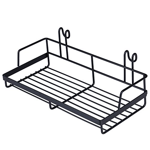 (Kufox Hanging Basket for Wire Wall Grid Panel, Multi-function Wall Storage and Display Basket, Small Size, Black Painted)