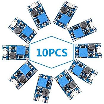 Eiechip DC Voltage Regulator Voltage Converter Step Up dc Boost Converter USB Power Module Supply Module Buck Converter 2V-24V to 5V-28V 2A MT3608 Mico USB (Pack of 10)