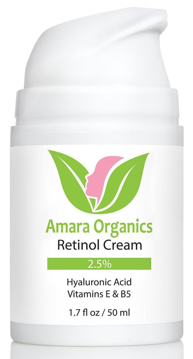 Crème hydratante au Rétinol pour le Visage 2, 5% avec Acide Hyaluronique & Vitamine E & B5 - 50ml Amara Organics