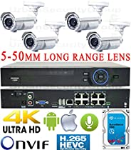 USG Business Grade H.265 4MP 2592x1520 4 Camera HD Security System : 5MP Ultra 4K Security NVR + 4x 4MP 5-50mm Vari-Focal Telephoto Lens Bullet Cameras + 1x 4TB HDD : Apple Android Phone App