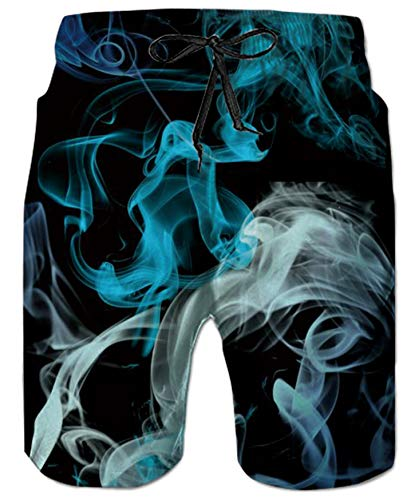 Belovecol Swimming Trunks for Teens Boys Juniors Adult Summer 80s 3D Colorful Smoke Surf Board Shorts S ()