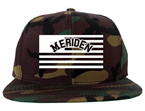 City Of Meriden with United States Flag Snapback Hat Cap Army Camo -
