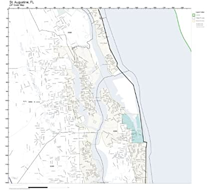 Map Of St Augustine Florida.Amazon Com Zip Code Wall Map Of St Augustine Fl Zip Code Map