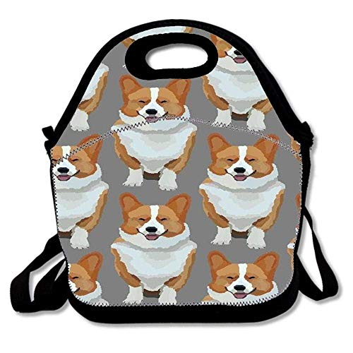 - CHJOO Sweet Insulated Lunch Bag Tote Reusable Waterproof School Picnic Carrying Gourmet Lunchbox Container Organizer -Corgi Drawing