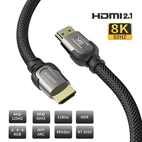 8K HDMI Cable, AUDIANO 8K HDMI 2.1 Cable 100% Real 8K, High Speed 48Gbps