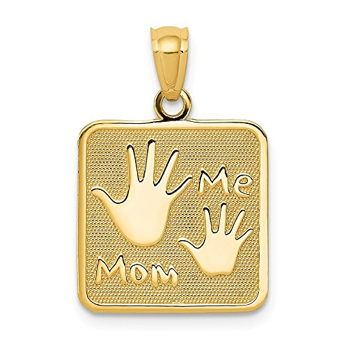 14k Yellow Gold Mom Me Hands Pendant Charm Necklace Special Person Baby Fine Jewelry Gifts For Women For - Special Mom Pendant Gold