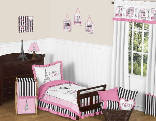 Pink, Black and White Stripe French Girls Toddler Bedding 5 Piece Eifell Tower Paris Set (Black And White Paris Themed Bedding)
