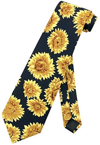 Background Necktie Black (Sunflowers Men's NeckTie Sun Flowers Black Background Mens Neck Tie)