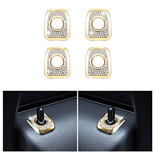 1797 Compatible Door Lock Pins Caps for BMW Accessories Parts Covers Decals Stickers Bling Interior Inside Decorations X3 Series E83 F25 G01 xDrive AWD Women Men Crystal Rhinestone Gold Pack of 4