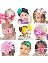 Qandsweet Baby Girl's Beautiful Headbands (9 Styles Bows)