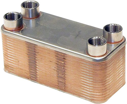 Duda Energy HX1430DW:M34 B3-14DW 30 Plate Stainless Steel Heat Exchanger with 3/4'' Male NPT Ports Copper Brazed, 2.9'' Height, 3.5'' Width, 7.8'' Length