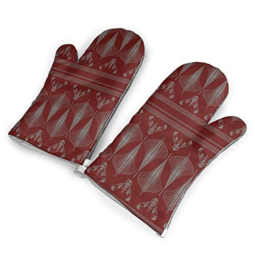 SUNNMOON Viking Hulls Skirt Iron Red Oven Mitts Heat Resistant Oven Gloves of Non-Slip,Kitchen for Cooking Baking Grilling ()