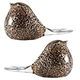 Glitter Black and Gold Glass Bird Paperweights, Pack of Two (Bundle)