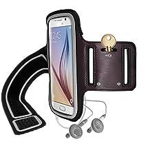 iGadgitz Reflective Anti-Slip Black Sports Jogging Gym Armband for Samsung Galaxy S6 SM-G920 & S7 SM-G930 with Key Slot