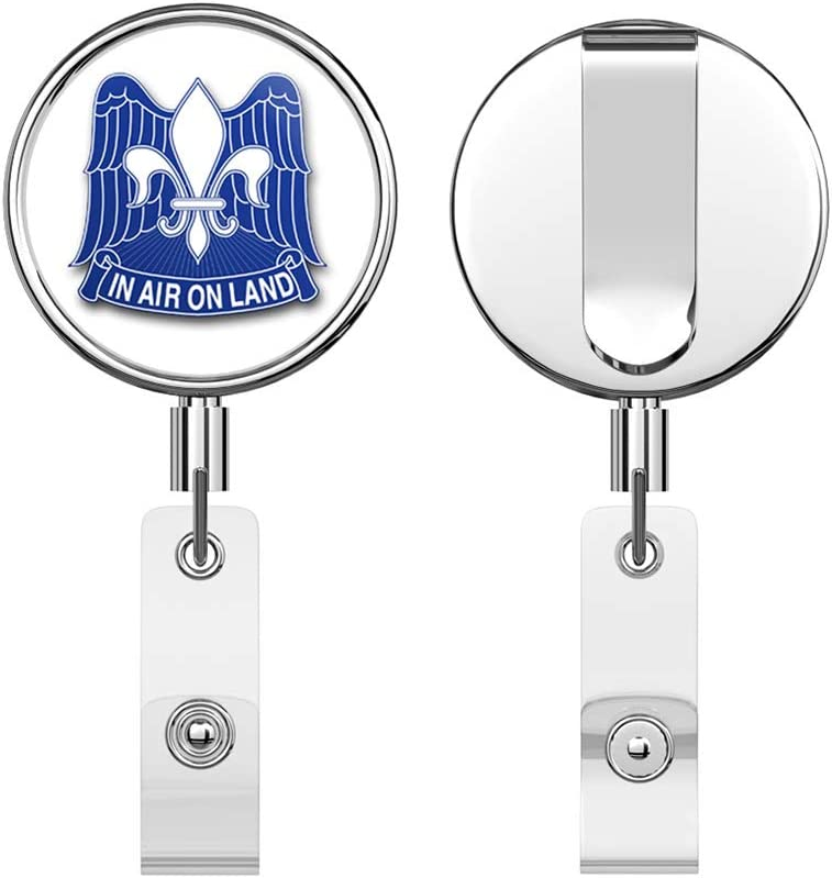 US Army 82nd Airborne Division Unit Crest Round ID Badge Key Card Tag Holder Badge Retractable Reel Badge Holder with Belt Clip